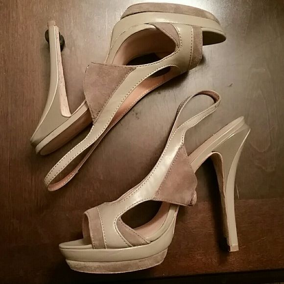 L.A.M.B. Qamar in Nude Open toed high heels by L.A.M.B. great condition only worn once and there's barely any wear. Suede and leather upper. Snap detail at sole. Make an offer. L.A.M.B. Shoes Heels