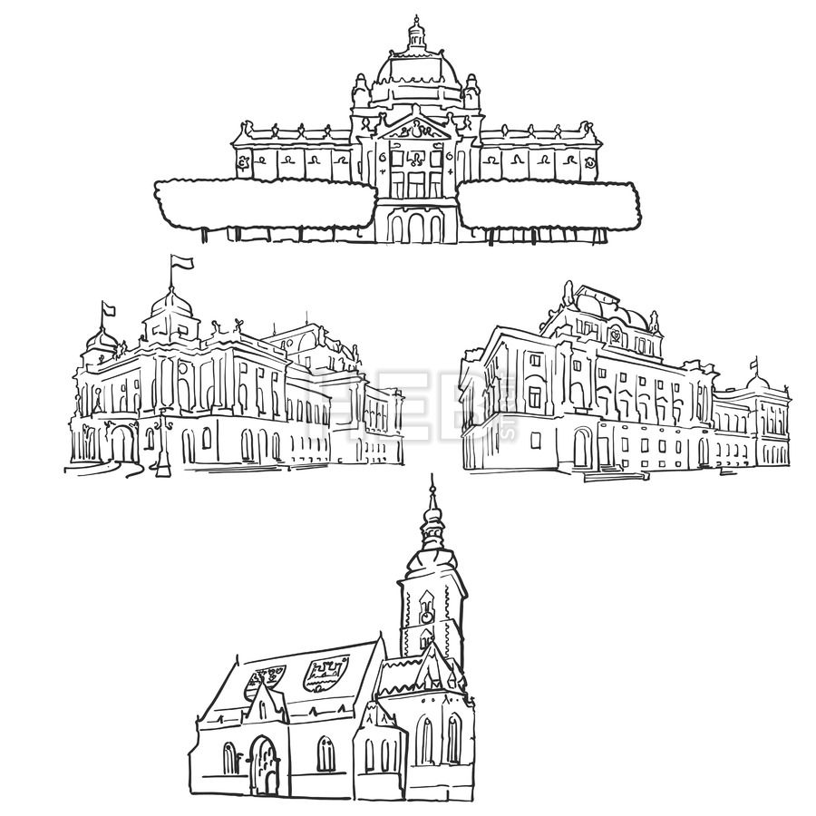 Zagreb Croatia Famous Buildings Hebstreits Sketches Famous Buildings Zagreb Croatia Croatia
