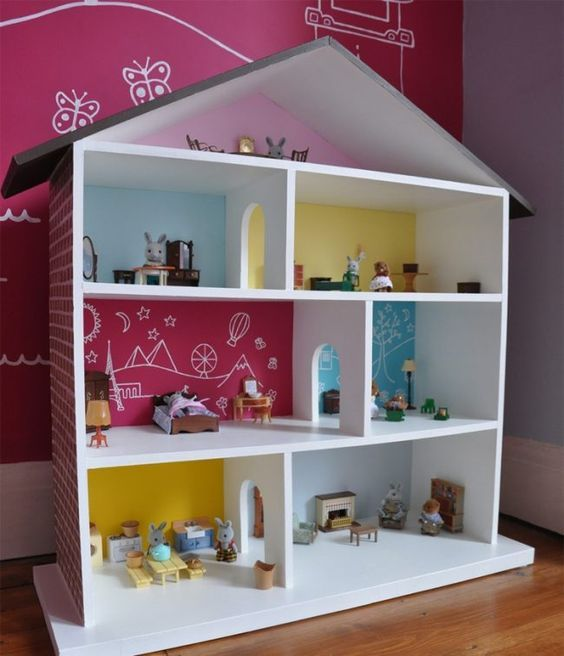 puppenhaus selber bauen einfach idee bunt wandgestaltung raeume spielzeug baby pinterest. Black Bedroom Furniture Sets. Home Design Ideas