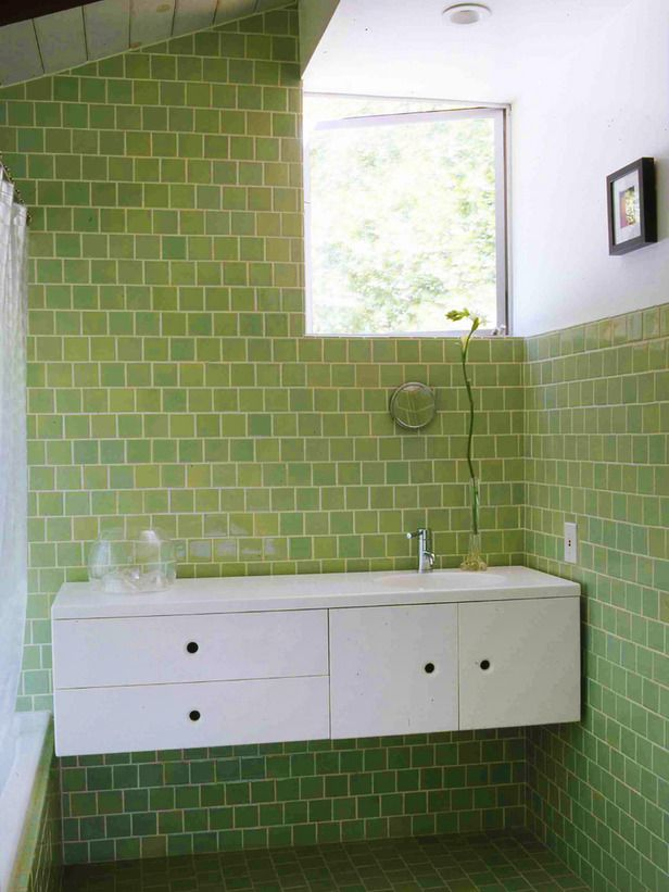 Play With Different Shades Of The Same Color 15 Simply Chic Bathroom Tile Design Ideas On Hgtv Bathroom Tile Designs Green Tile Bathroom Green Bathroom
