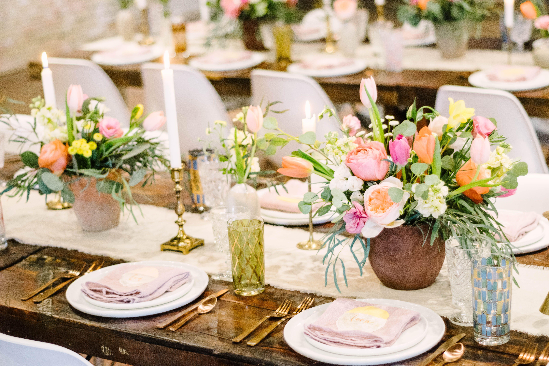 Brazos Hall Boho Wedding Shoot Pink Neutrals Modern Texan Bride Via Birch Brass Vintage Re Event Rental Country Club Wedding Corporate Events
