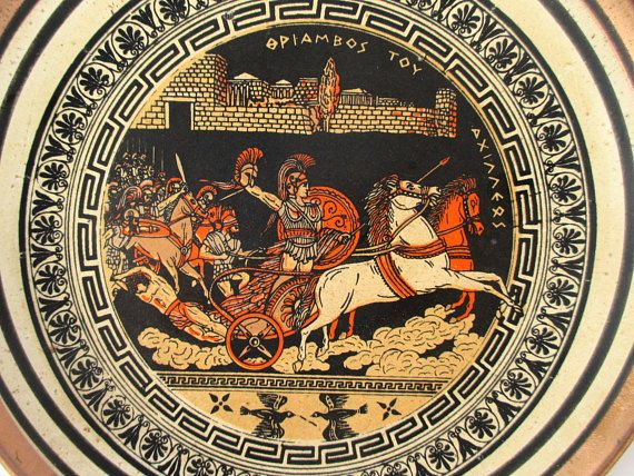 These two beautiful copper plates feature scenes from ancient Greece. -- Greek Copper Plates & Greek Copper Plates Set Decorative Copper Wall Hangings Greece God ...