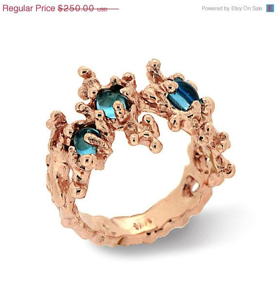 ON SALE  BETWEEN the Seaweeds Rose Gold Ring Blue door AroshaTaglia, $207.50