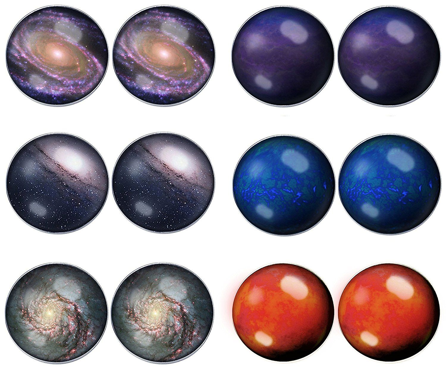 LilMents 6 Pairs Galaxy Universe Planets Mens Womens Stainless Steel Stud Earrings