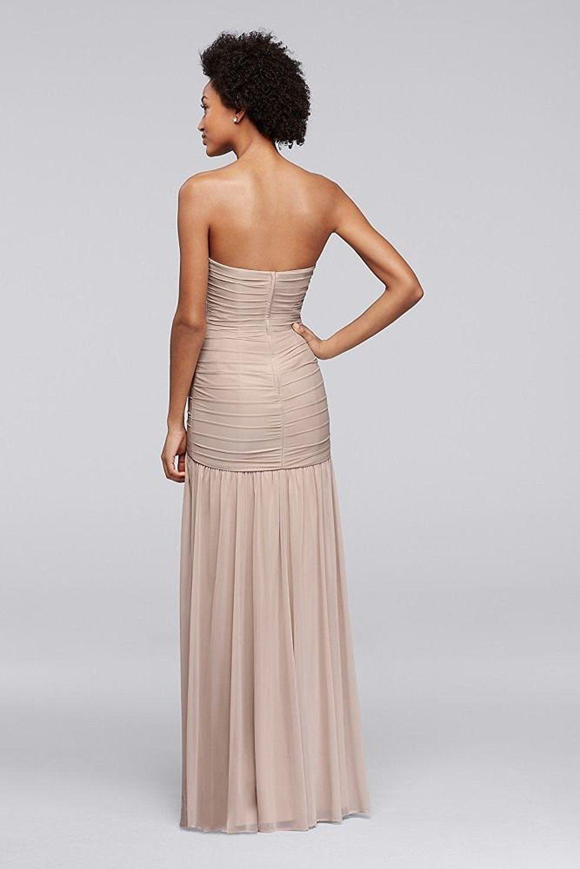 David\'s Bridal Long Fit and Flare Mesh Bridesmaid Dress Style F18076 ...