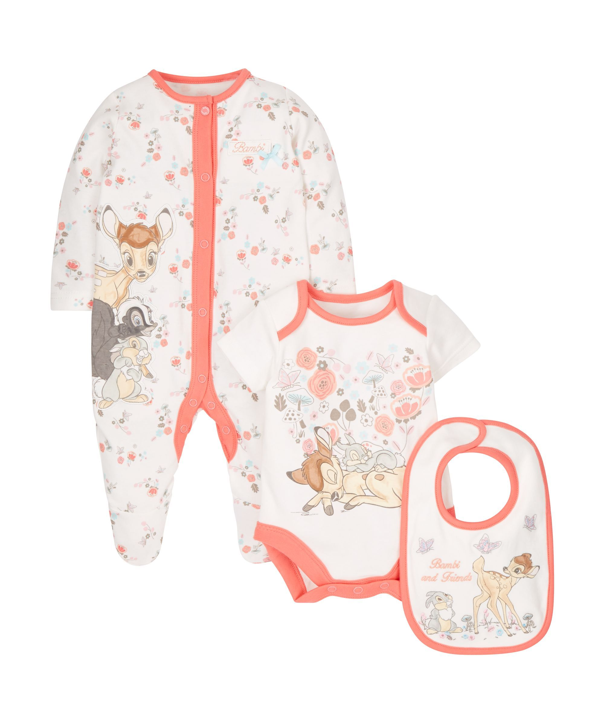 Baby-Overall in Beige und Rosa Bambi Disney
