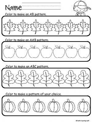 Color A Fall Pattern Pattern worksheets for kindergarten