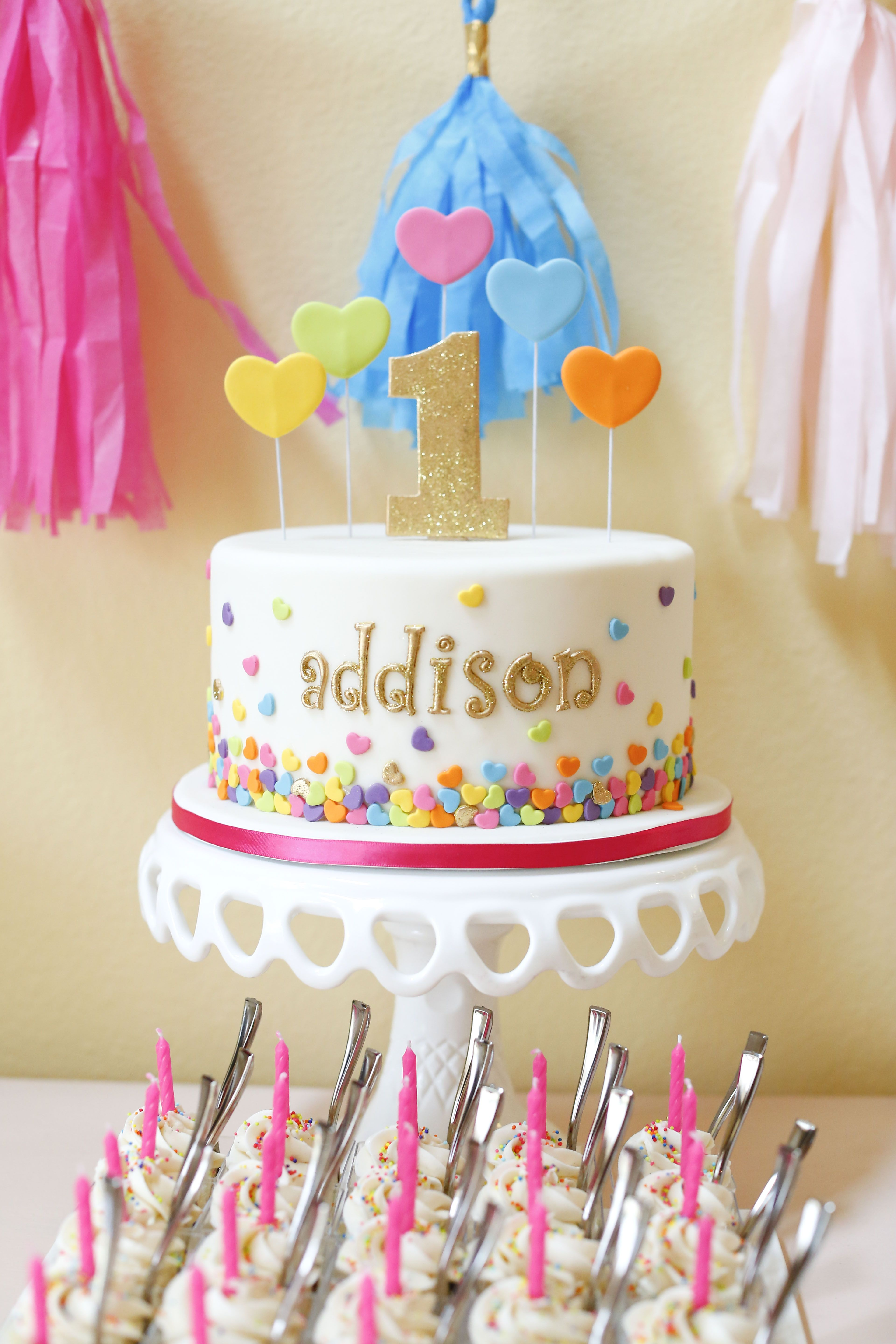 A darling, colorful 1st birthday cake! #babyeinstein #firstbirthday