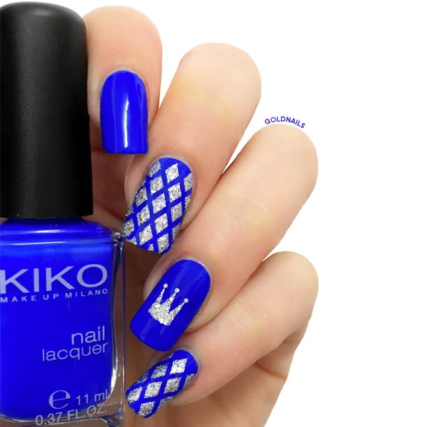 Royal Blue Nail Polish Kiko 336 With Crown And Fishnet