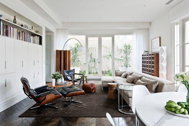 wohnbereich beige braun weiss parkett boden wohnzimmer einrichtenneutrale farbewohnideen - Wohnideen Wohnzimmer Parkett