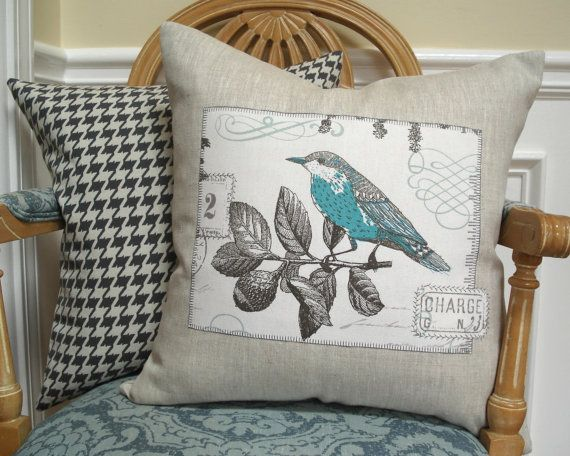 Bird and french script linen pillow cover - 18 inch - Pale turquoise, aqua,dark gray, natural linen
