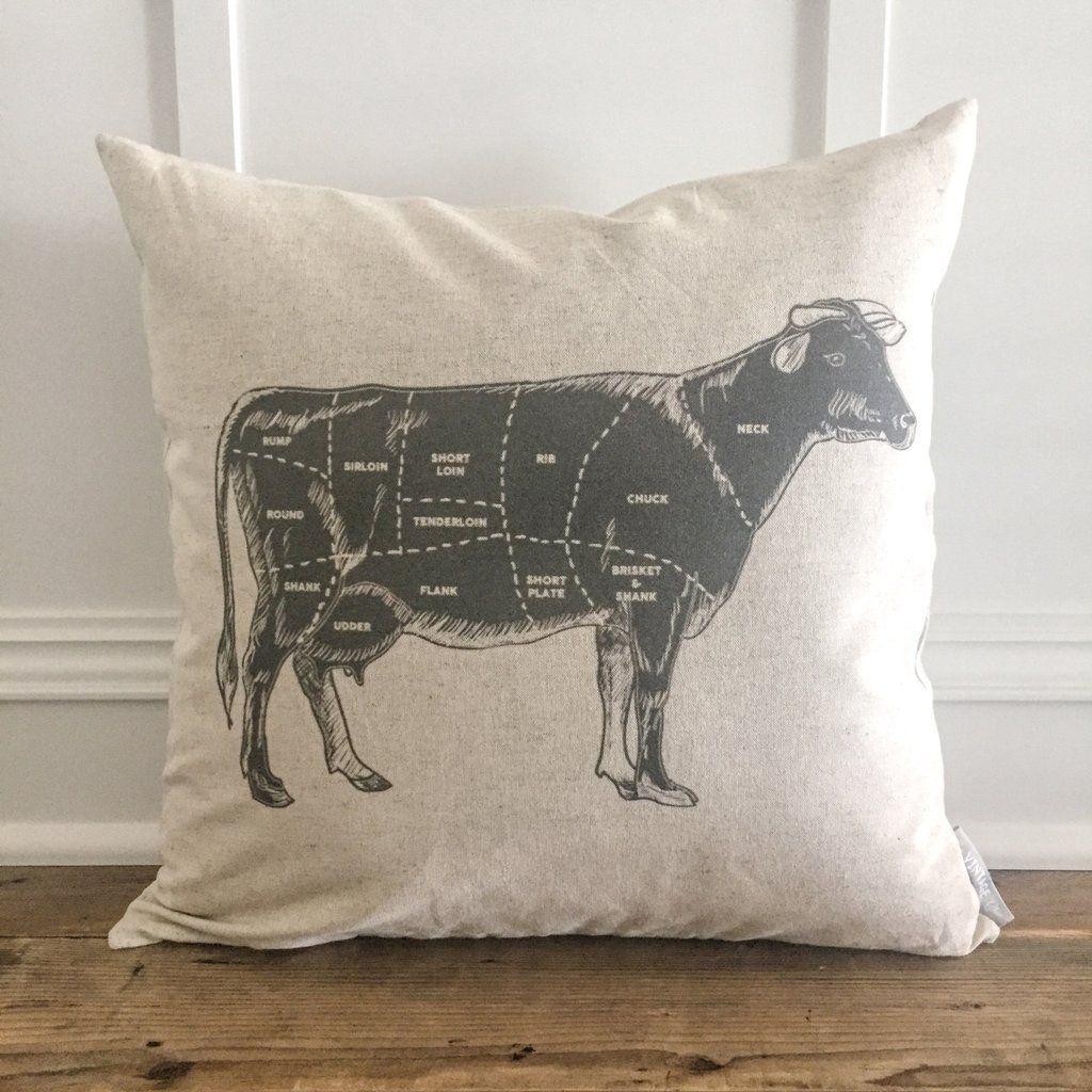 Cow label pillow cover linen pillows pillows and cozy