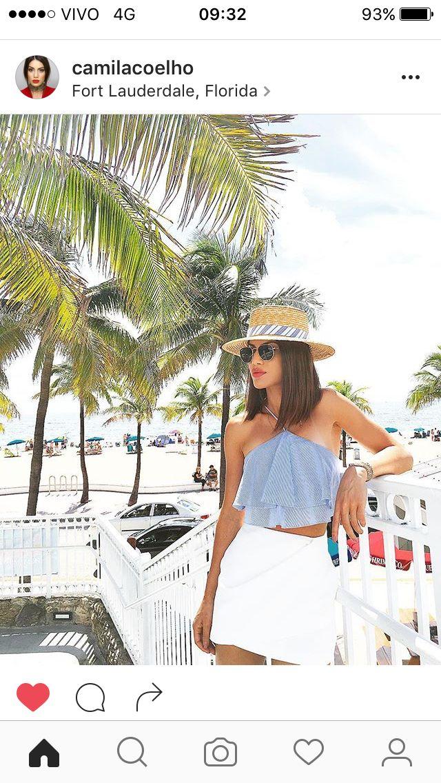 #camilacoelho #look #moda #beach #hat #top #saia