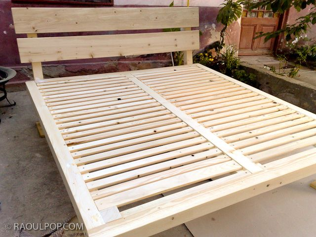 DIY Custom-made king size bed frame. This looks so simple! And you ...