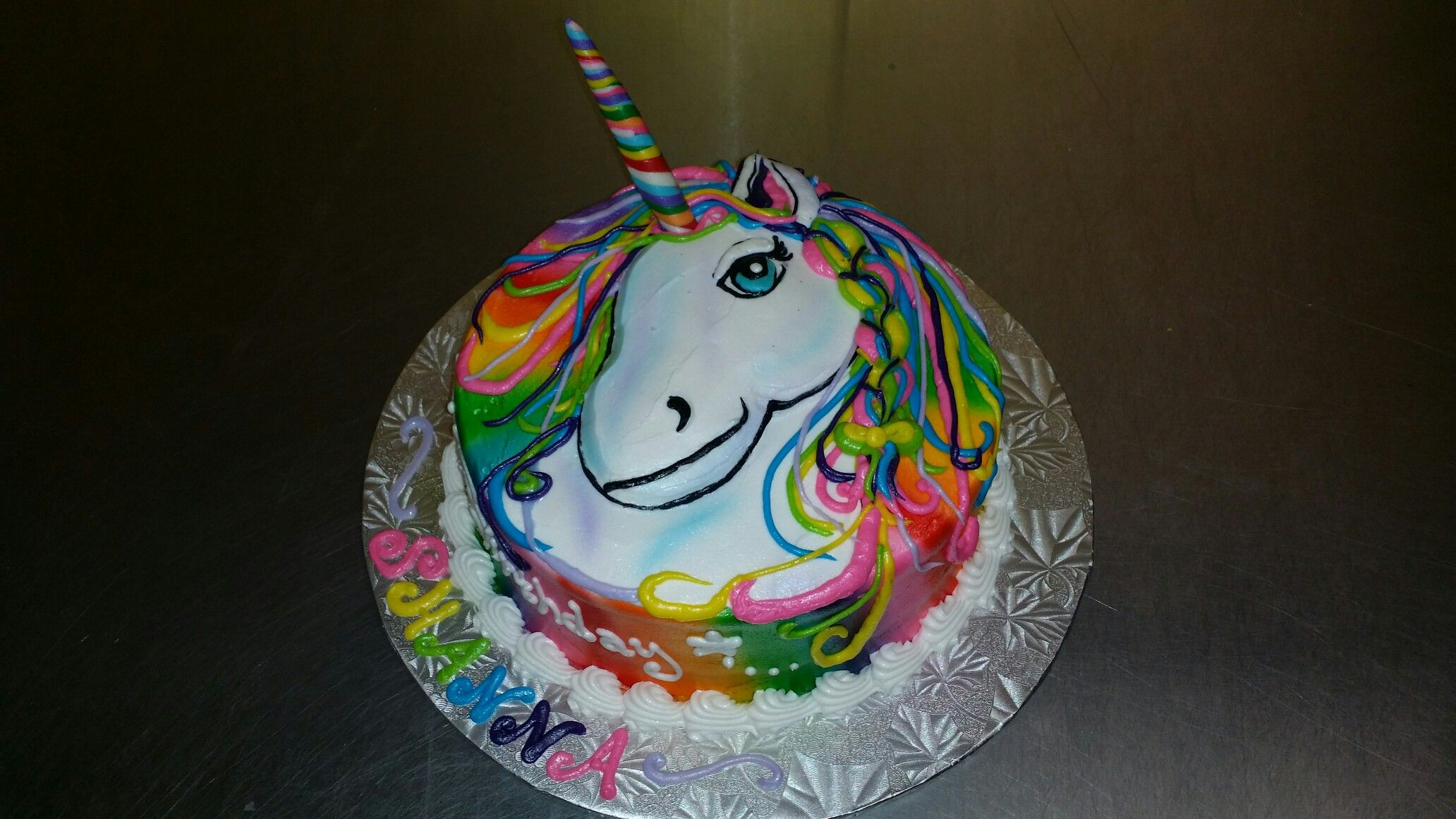 Lisa Frank Inspired Unicorn Head Drawing With Fondant Rainbow