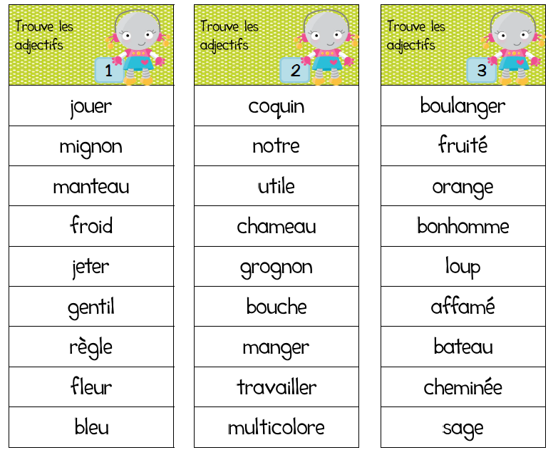 Ateliers autour de l'adjectif   Adjectifs, Ecole de ...