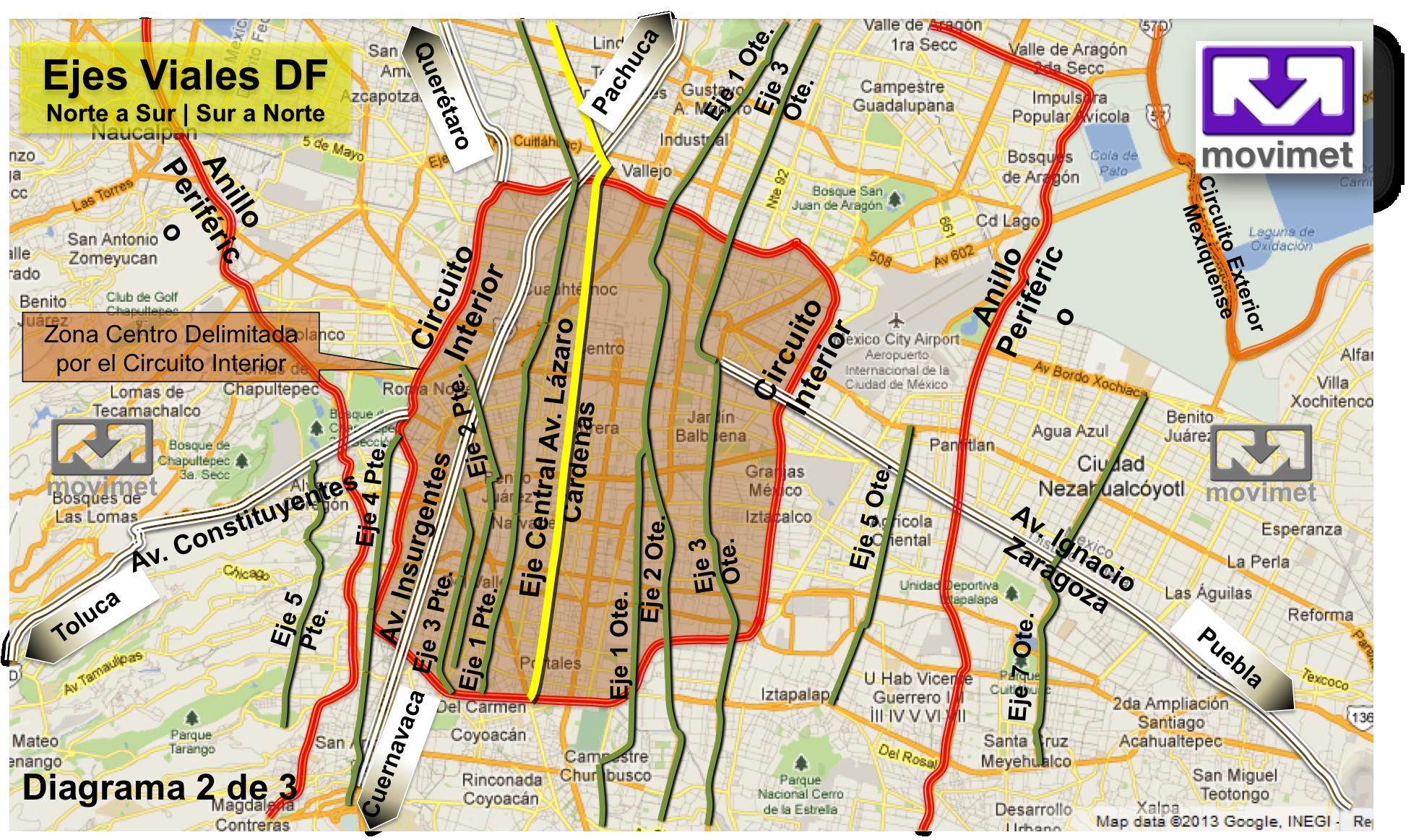 Esquema De Ejes Viales Norte A Sur Sur A Norte Mapas