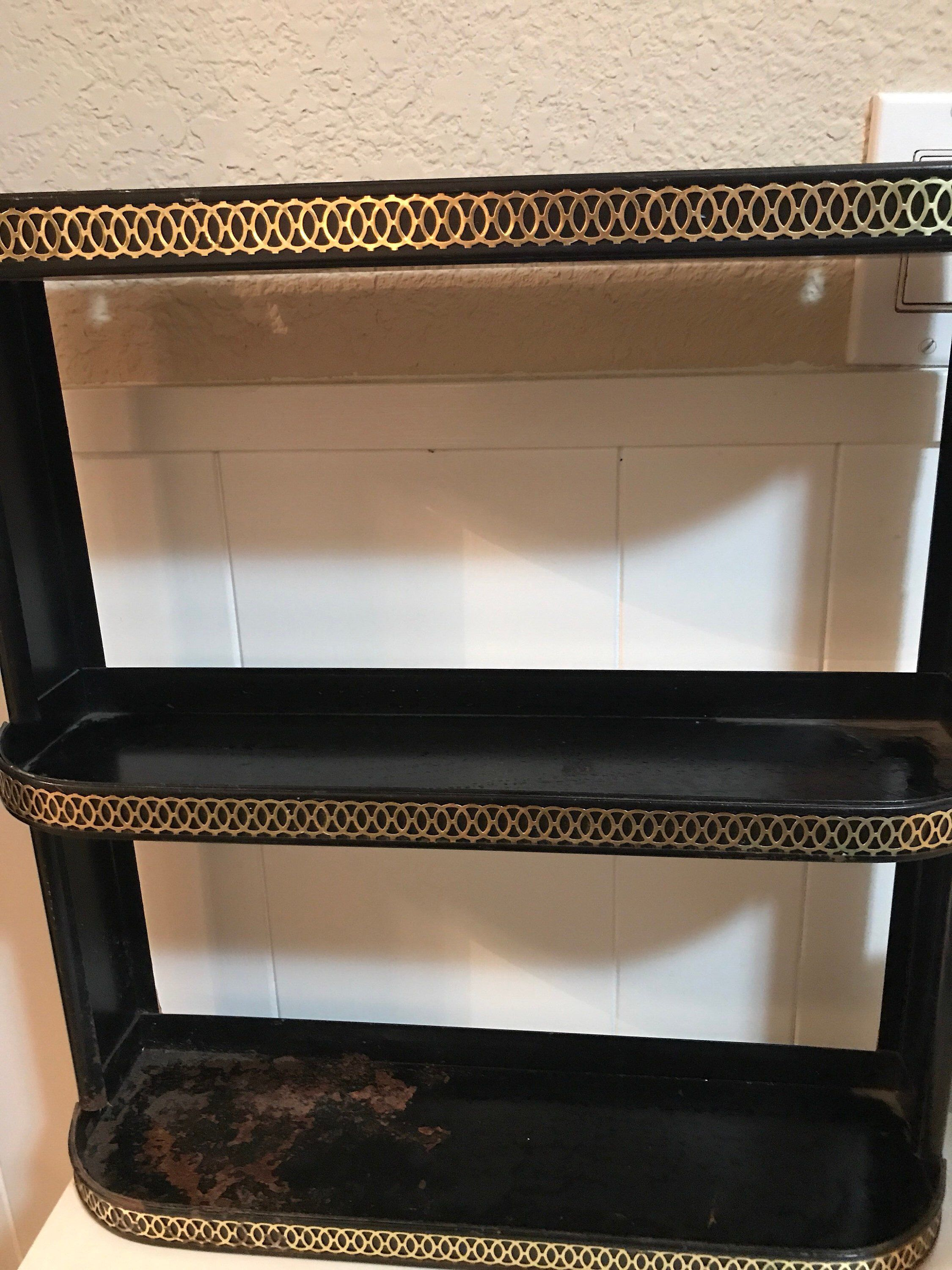 Vintage Shelf Black With Gold Trim 50 S Bathroom Metal With 3 Shelves Sale Price Was 60 00 Now 35 00 Vintage Shelf 50s Bathroom Vintage