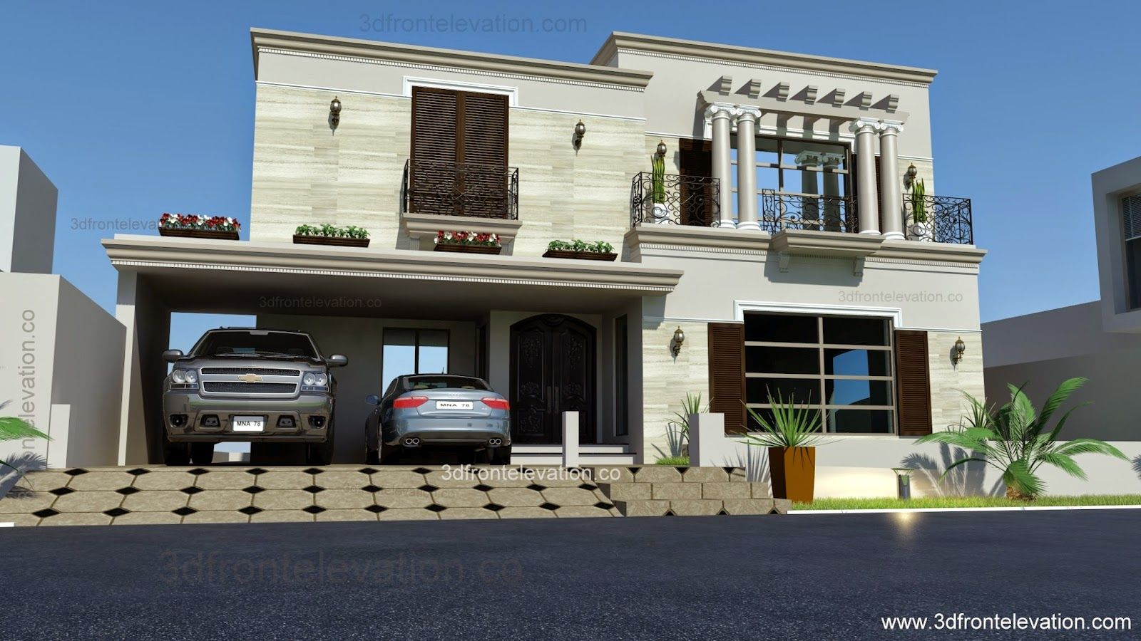 1 kanal spanish house design plan dha lahore pakistan for Building front design