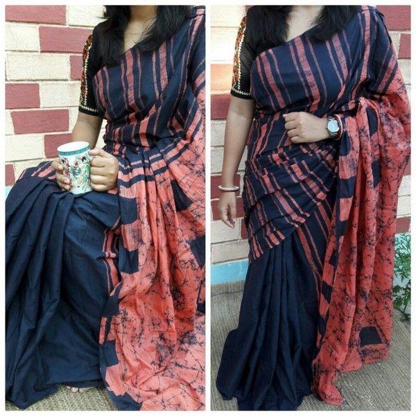 Cotton Saree With Blouse Buttick Print