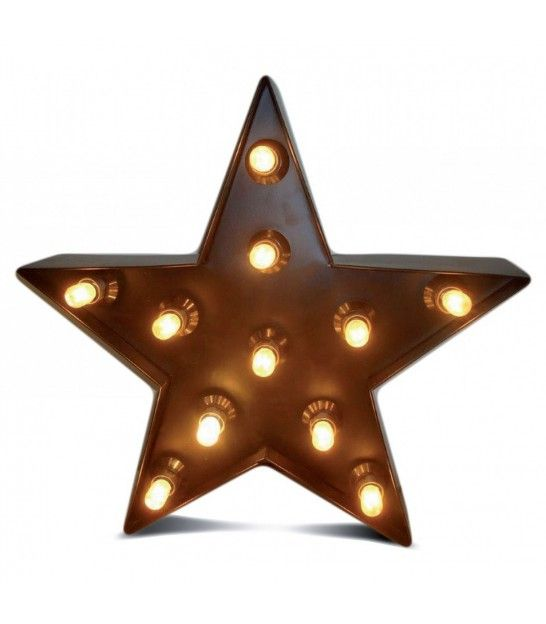 Lampe A Poser Etoile Lumineuse En Zinc Noir Very Christmas