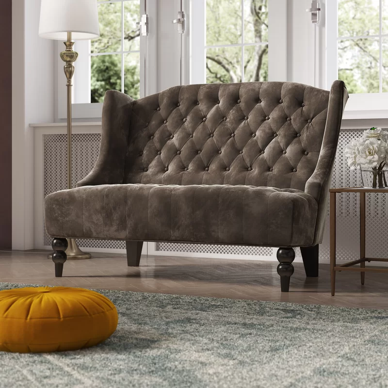 Carolina Velvet 50 Recessed Arms Loveseat Love Seat Furniture Upholstered Chaise Lounge