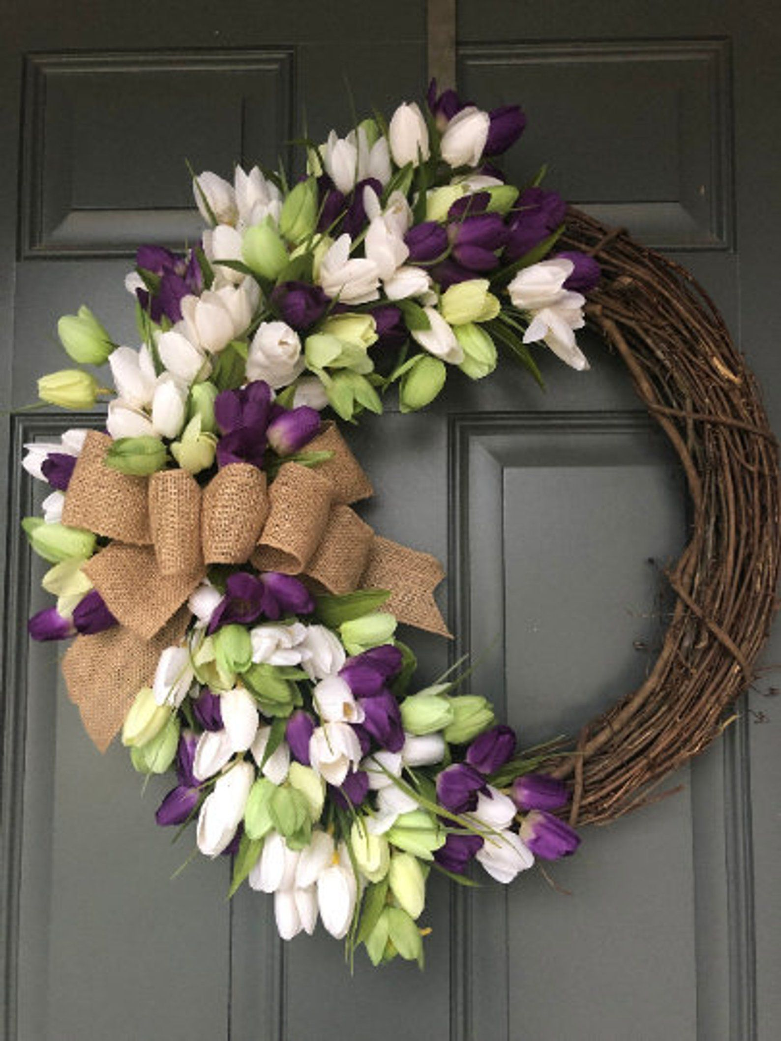 Photo of NEW! Spring wreath, Tulip Wreath, Spring Wreath for front door, everyday wreaths for front door, wreaths for front door, Spring Wreaths