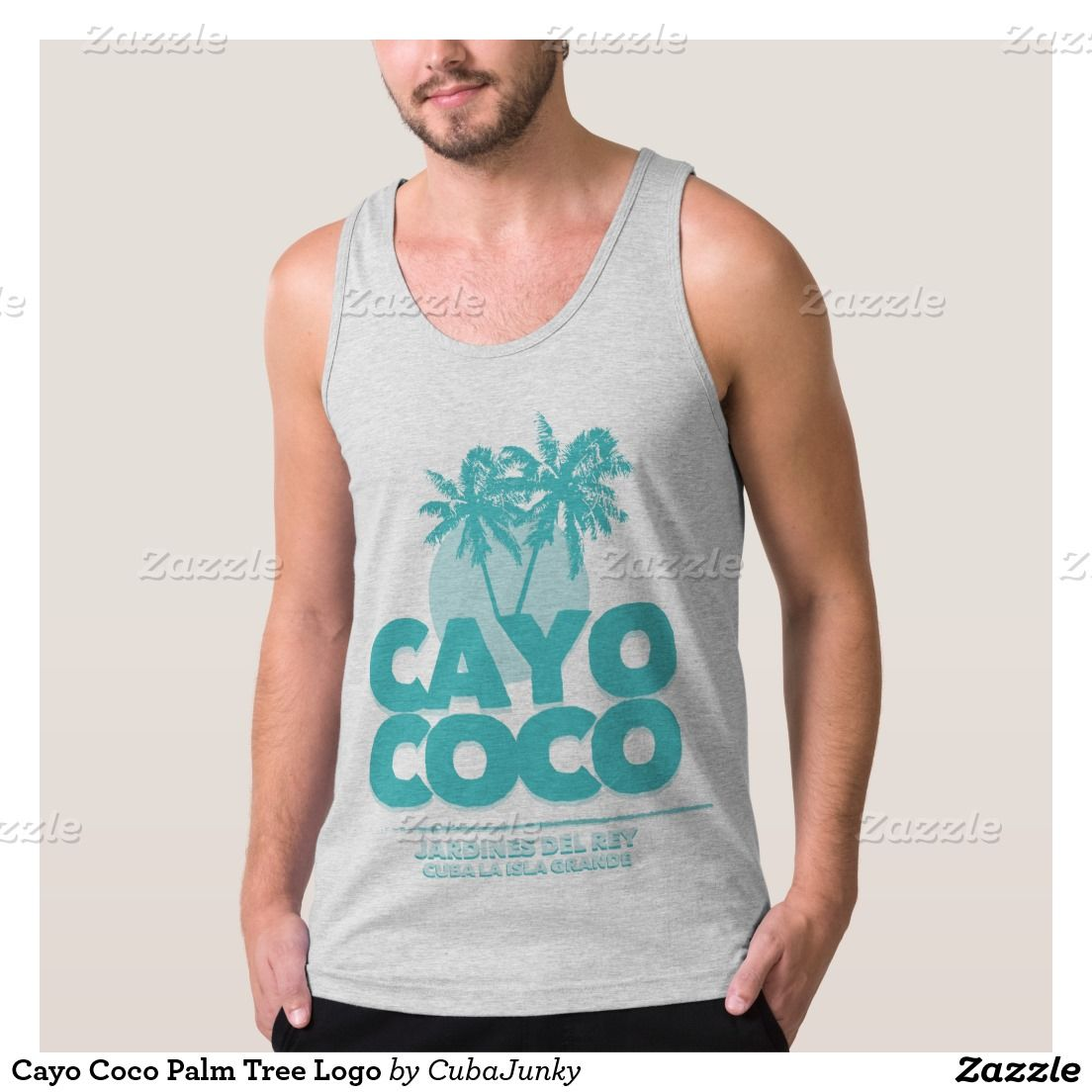 Cayo Coco Palm Tree Logo American Apparel Fine Jersey Tank Top