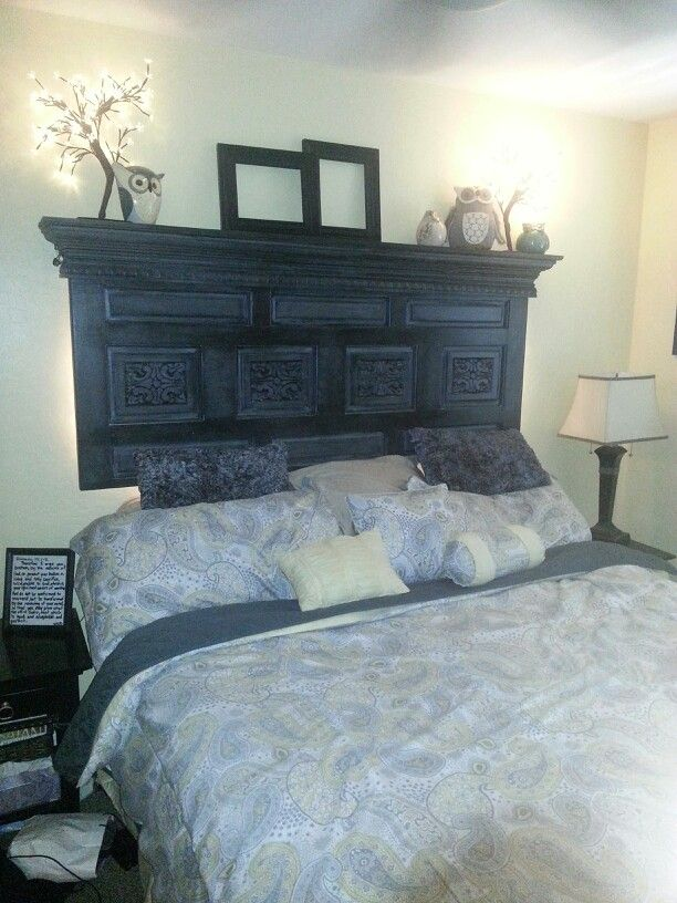 Headboard painted Grey and then rubbed with black stain. Antiqued.