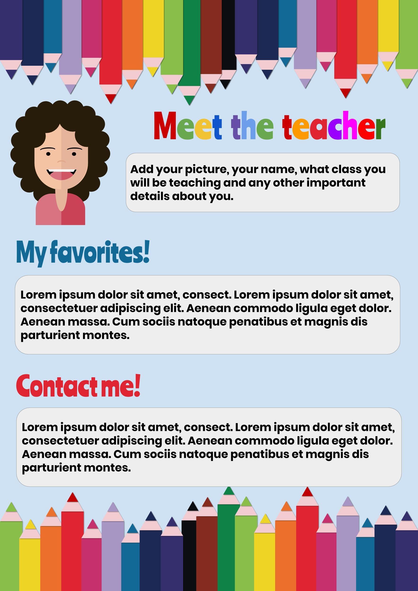 Introduce Yourself A Back To School Template Meet The Teacher Template Classroom Newsletter Template School Newsletter Template