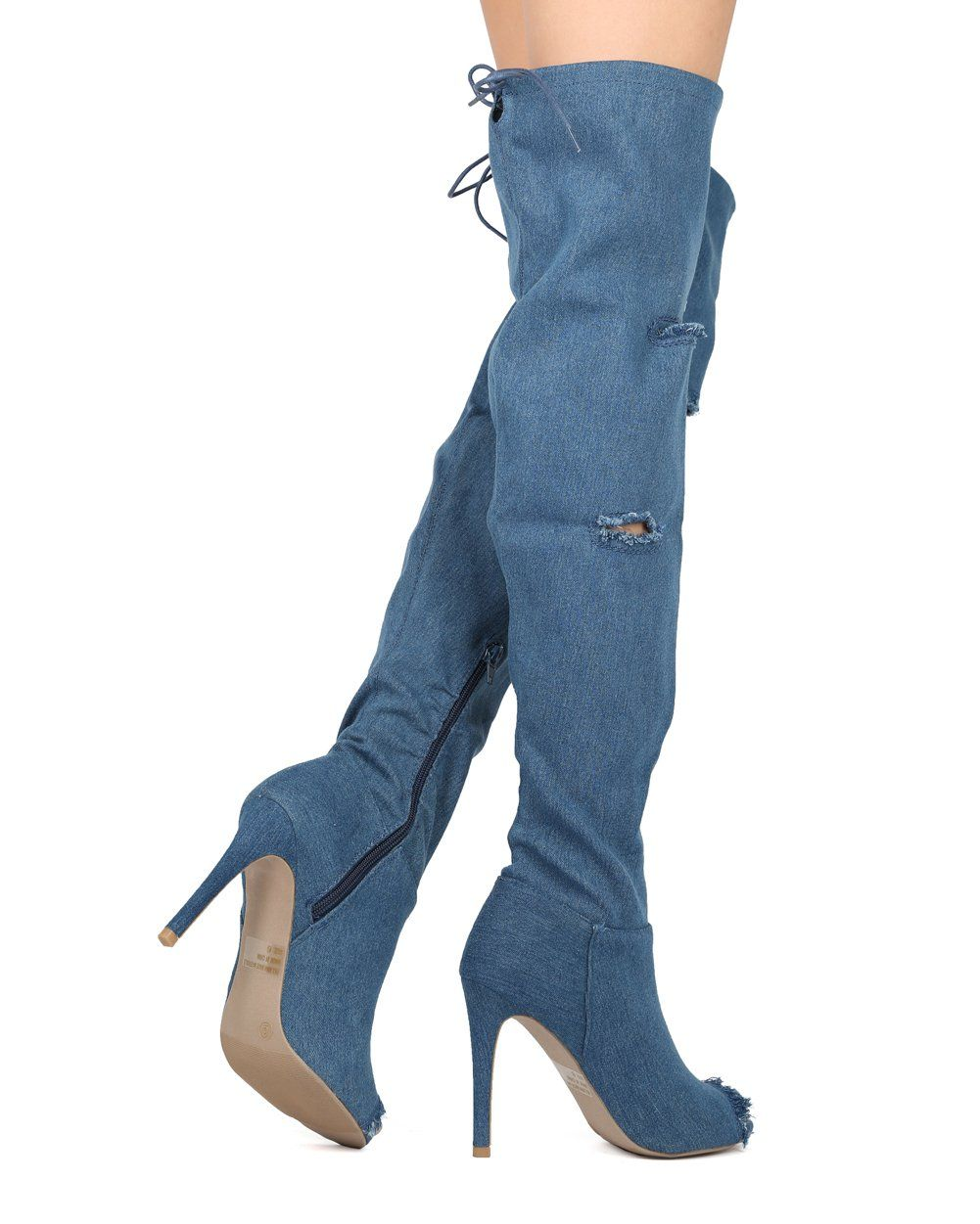 81b1014326e Women Frayed Denim Peep Toe Over The Knee Stiletto Boot HG40 by Wild Diva  Collection Denim Size  8.5    Check out this great product.