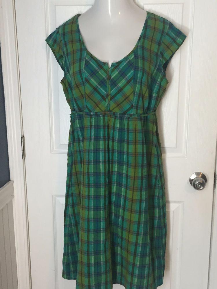 Eddie Bauer Size 16 Dress Sleeveless Lined 100% Cotton Plaid Design #EddieBauer #Dress #Casual