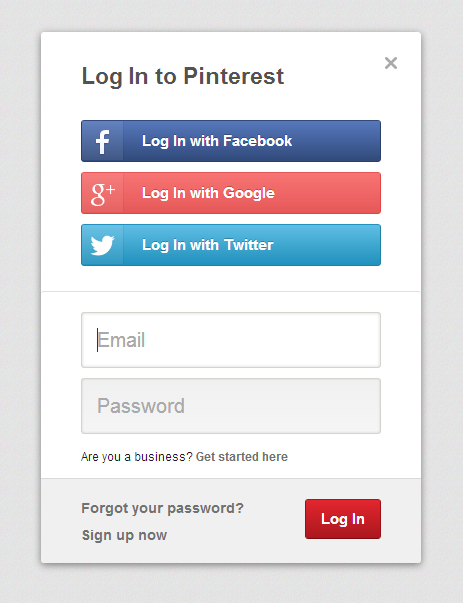 Pinterest Login Screen With Images Log In To Pinterest
