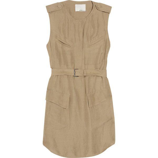 3.1 Phillip Lim Twill Safari Dress ($230) ❤ liked on Polyvore featuring dresses, women, brown dress, cross over dress, panel dresses, 3.1 phillip lim and safari dress