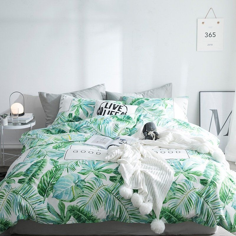 Modern Chic Green And White Tropical Leaf Print Country Chic Unique Hipster Twin Full Queen Size Bedd Bedding Sets Tropical Bedding Sets Luxury Bedding Sets