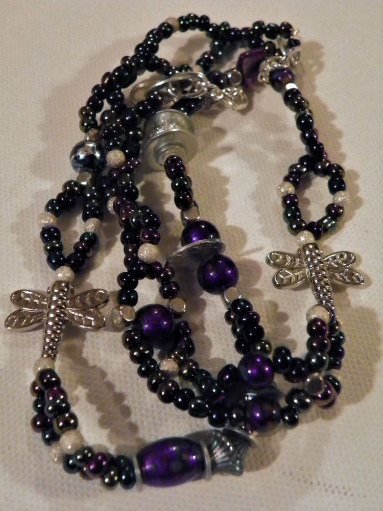 CZECH GLASS AB SILVER DRAGONFLY PENDANTS NECKLACE 99 Cent Ship Comb