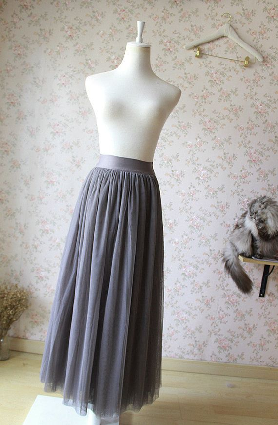 67c108a1d Dark Gray Tulle Skirt. Adult Maxi Tulle by Dressromantic on Etsy-$69.99+
