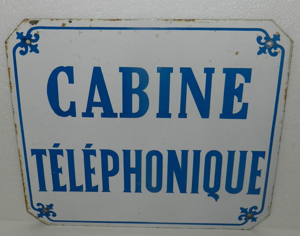 ancienne plaque emaillee vintage retro cabine telephonique loft telephone allo. Black Bedroom Furniture Sets. Home Design Ideas