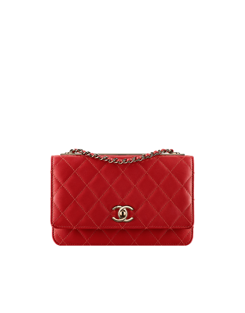 5d31850cdffe $2,400 Chanel Trendy Wallet on chain, lambskin & gold-tone metal-dark red -  CHANEL