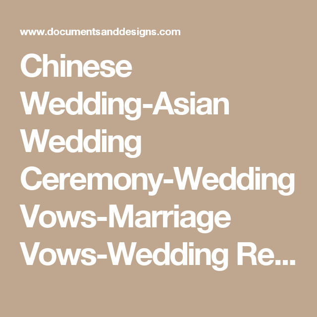 Chinese Wedding Asian Ceremony Vows Marriage Readings Certificates