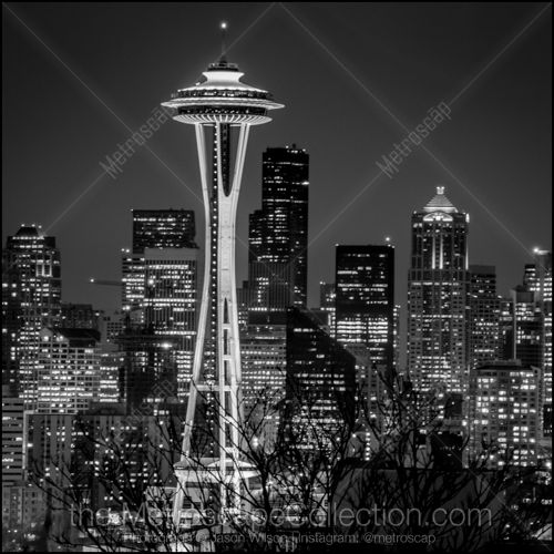 Black and White Picture of The Seattle Space Needle in Seattle ...