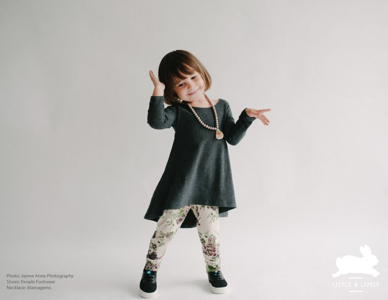 Little and Lively Fall/Winter 2015-2016 Collection Charcoal Grey Belle Dress - Winter Flowers on Taupe Leggings - Toddler / Kids Necklace