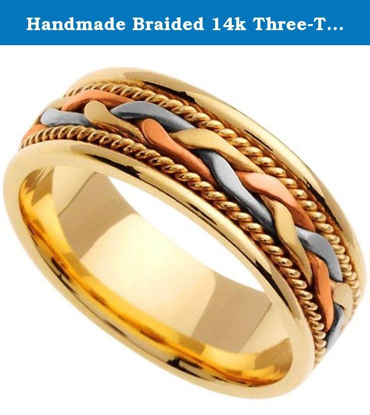 Handmade Braided 14k Three Tone Gold Band 6mm Contemporary