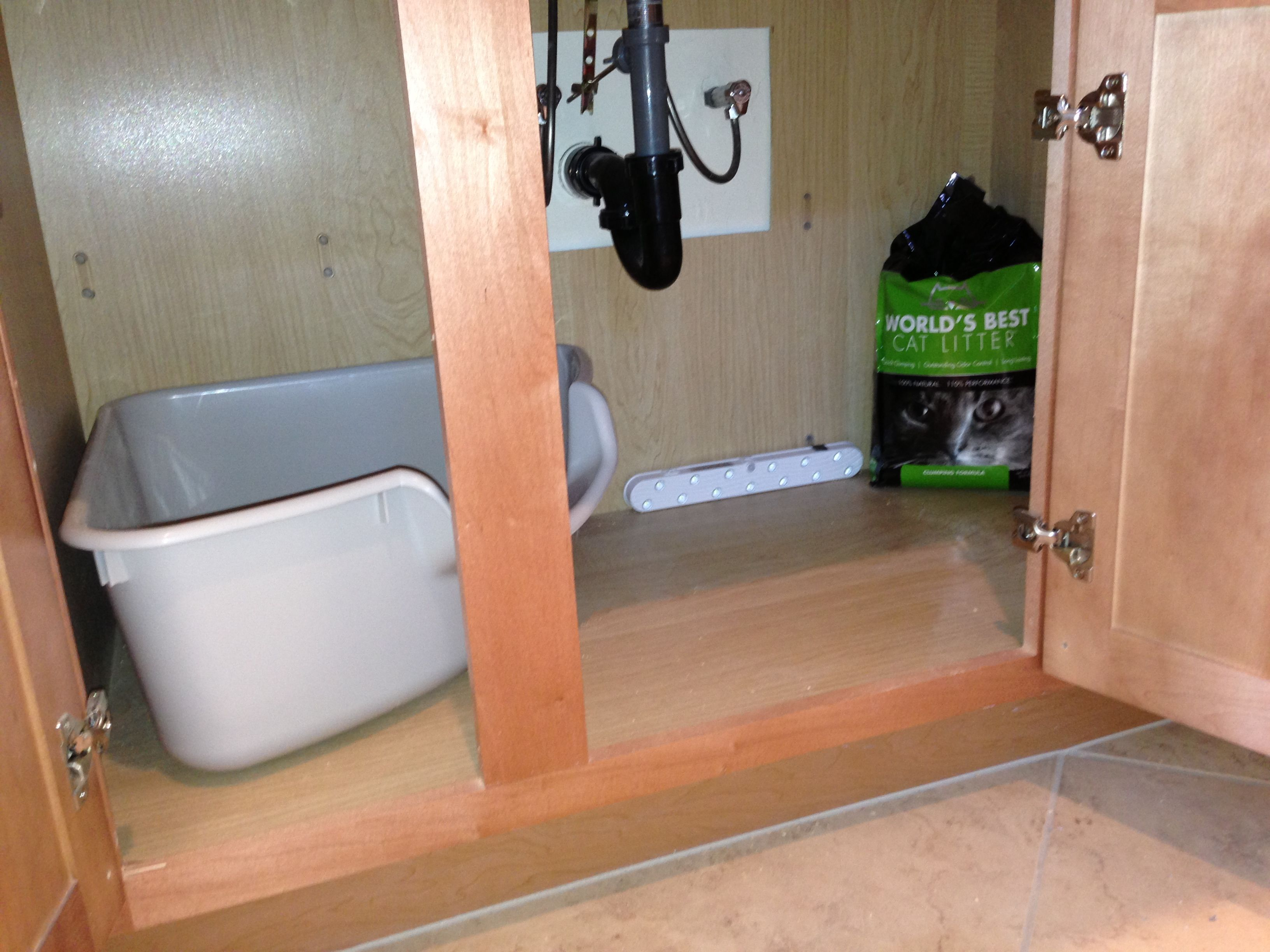 New Location For Lovely Cat Box Under Bathroom Sink Cabinet