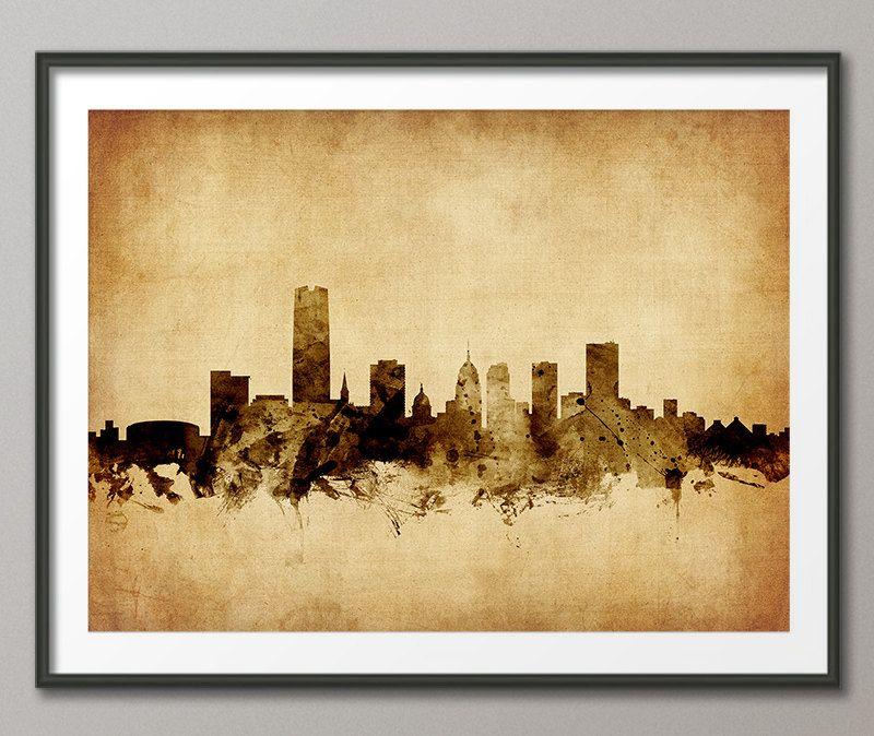 Oklahoma City Skyline Cityscape, Art Print (2500) by artPause on Etsy