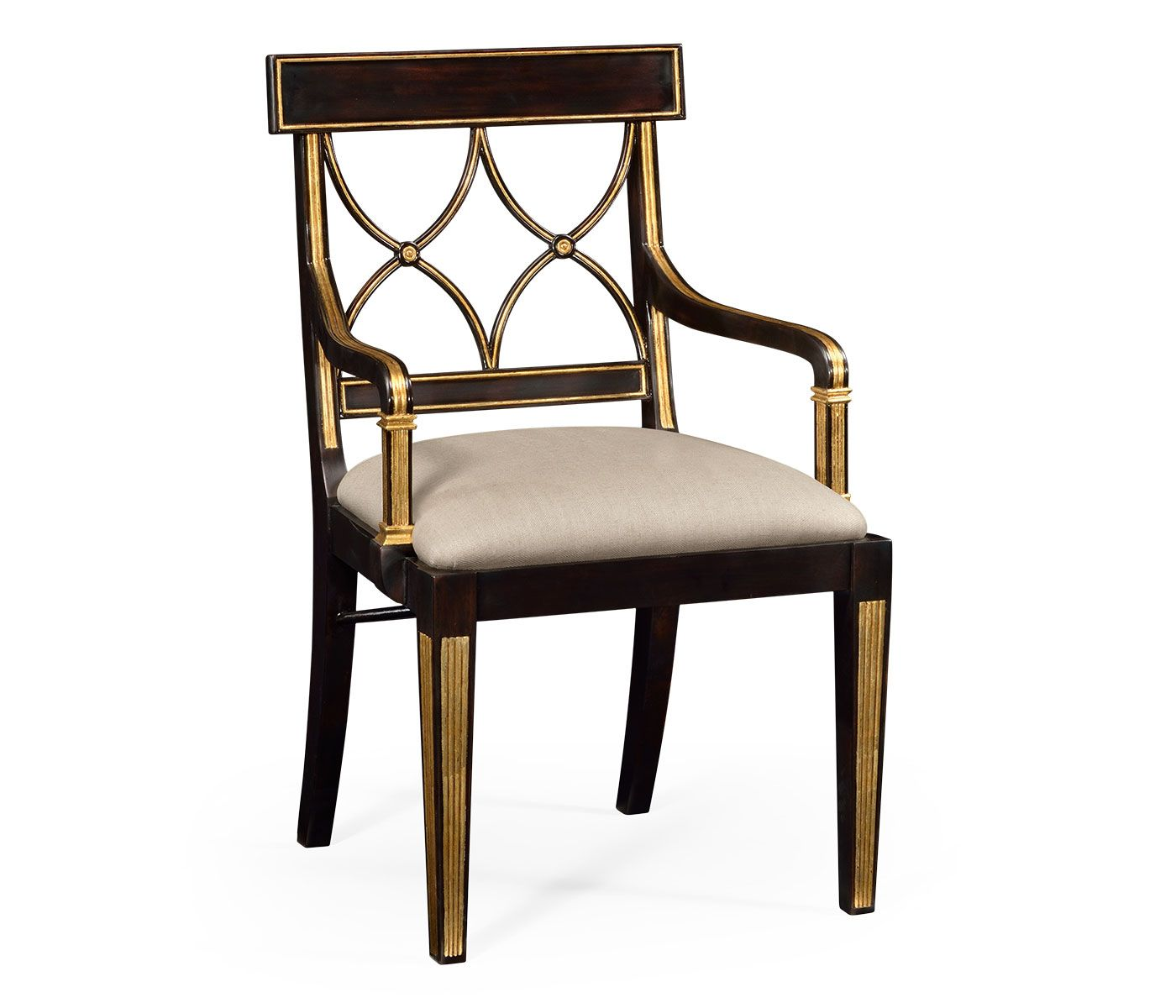 Regency black painted curved back chair (Arm) 6 in stock