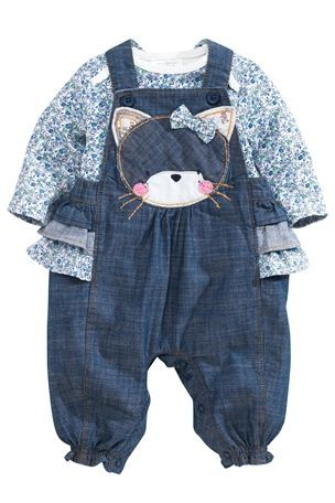 Buy Cat Denim Dungaree And Blue Ditsy Bodysuit Two Piece Set (0-18mths) from the Next UK online shop