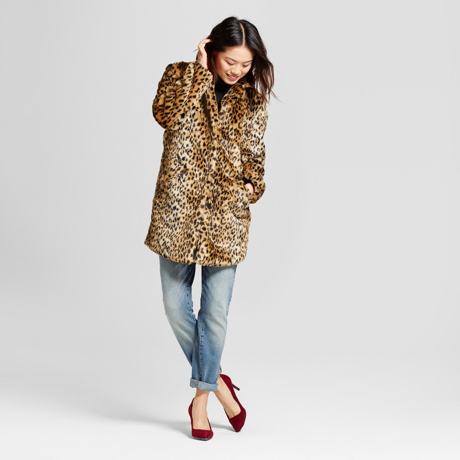 e21fedb716774 Women s Leopard Faux Fur Coat - A New Day™   Target