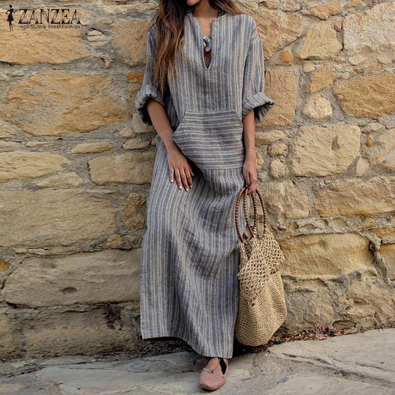 37eb900c3cf1 ZANZEA Women Striped Dress 2018 Autumn Sexy V Neck Long Sleeve Dresses  Vintage Casual Loose Maxi