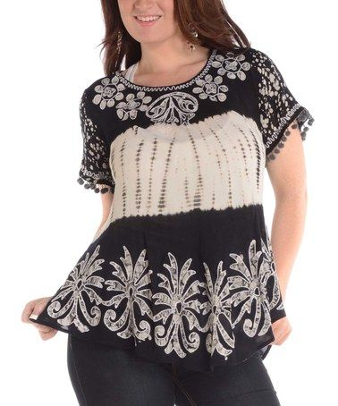 c04980f3907 Loving this Black & White Floral-Embroidered Scoop Neck Tunic - Plus on  #zulily! #zulilyfinds